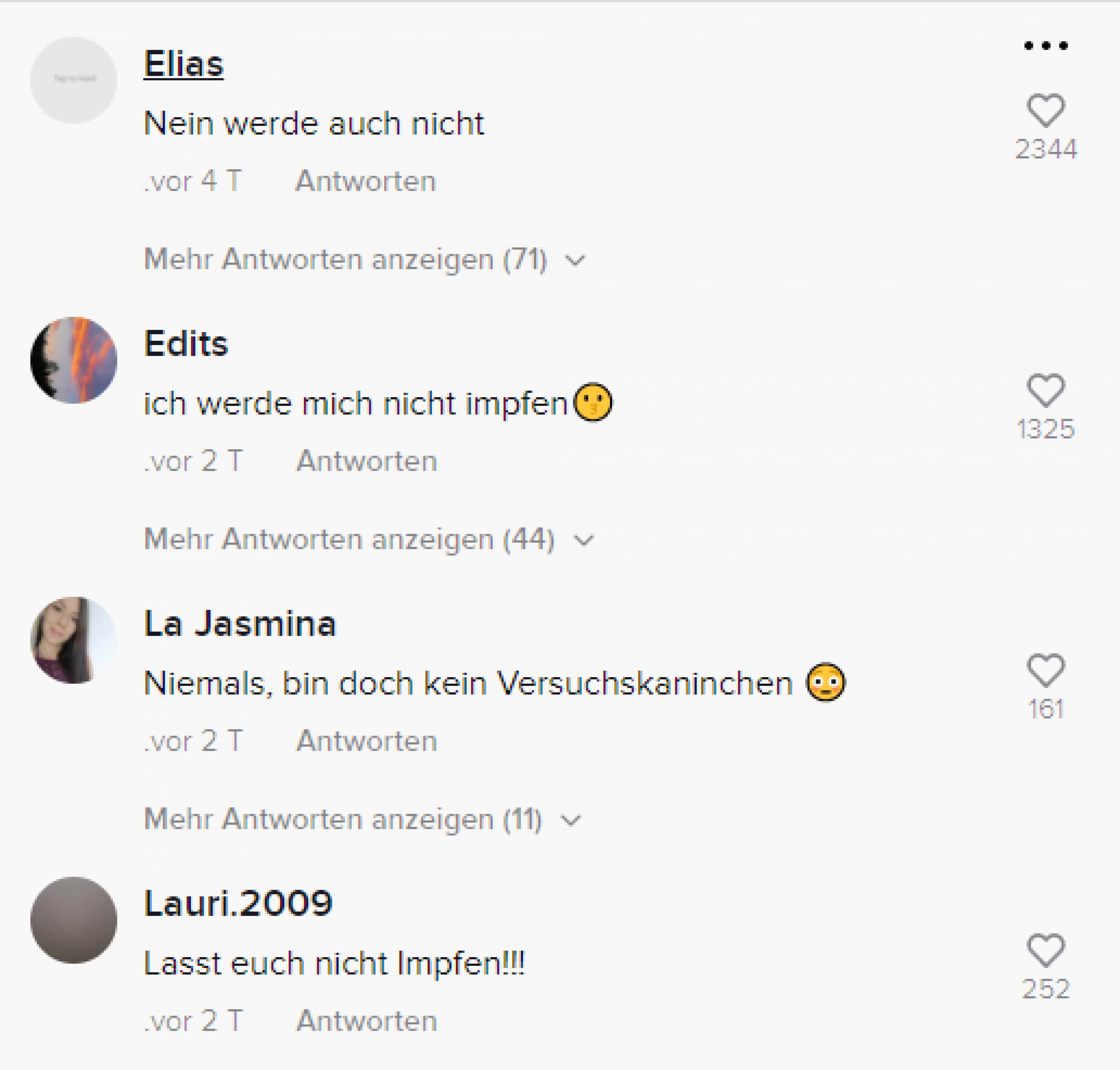 Screenshot von Kommentaren gegen eine Impfung